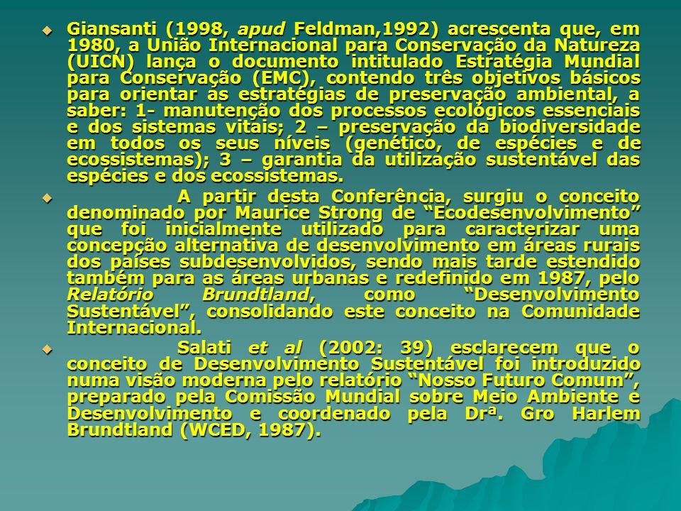 Giansanti (1998, apud Feldman,1992) acrescenta que, em 1980, a União Internacional para Conservação da Natureza (UICN) lança o documento intitulado Es