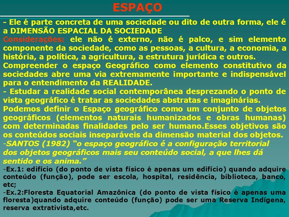 ESPAÇO - Ele é parte concreta de uma sociedade ou dito de outra forma, ele é a DIMENSÃO ESPACIAL DA SOCIEDADE Considerações: ele não é externo, não é