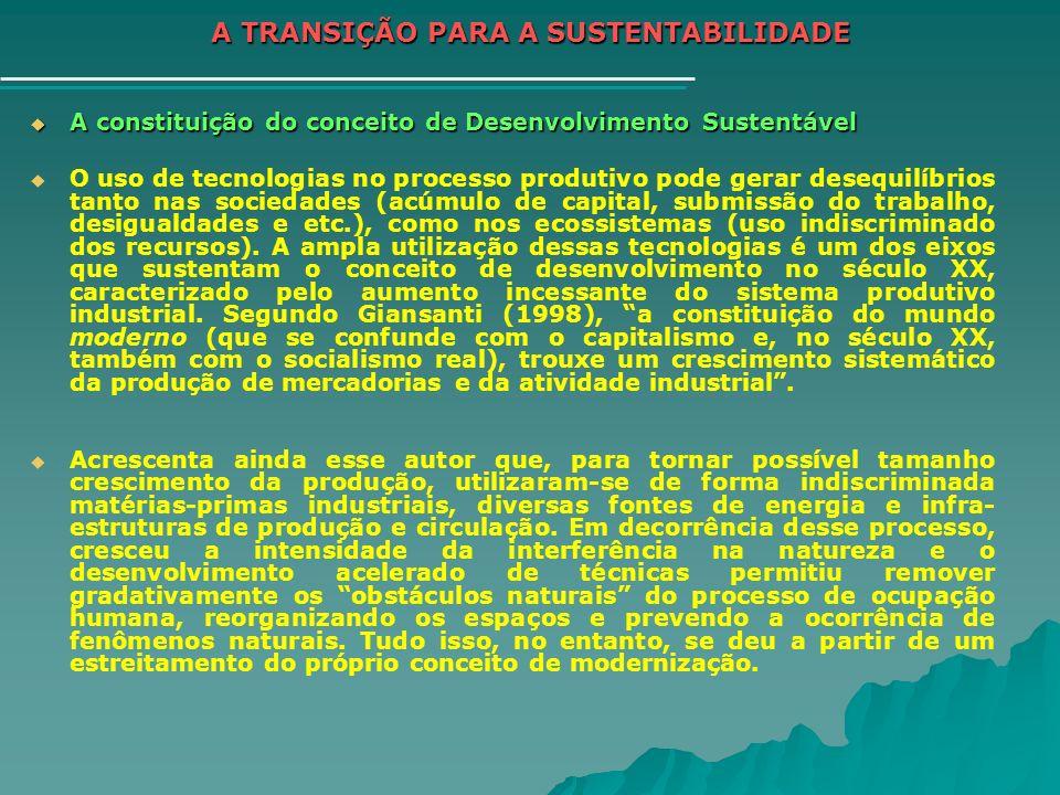 A TRANSIÇÃO PARA A SUSTENTABILIDADE A constituição do conceito de Desenvolvimento Sustentável A constituição do conceito de Desenvolvimento Sustentáve