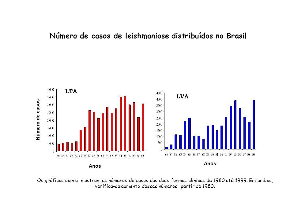 Número de casos de leishmaniose distribuídos no Brasil LVA LTA Os gráficos acima mostram os números de casos das duas formas clínicas de 1980 até 1999
