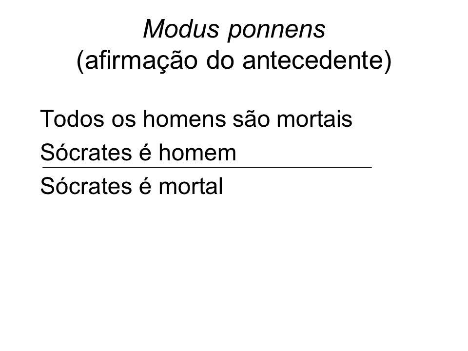 Modus ponnens (afirmação do antecedente) Todos os homens são mortais Sócrates é homem Sócrates é mortal