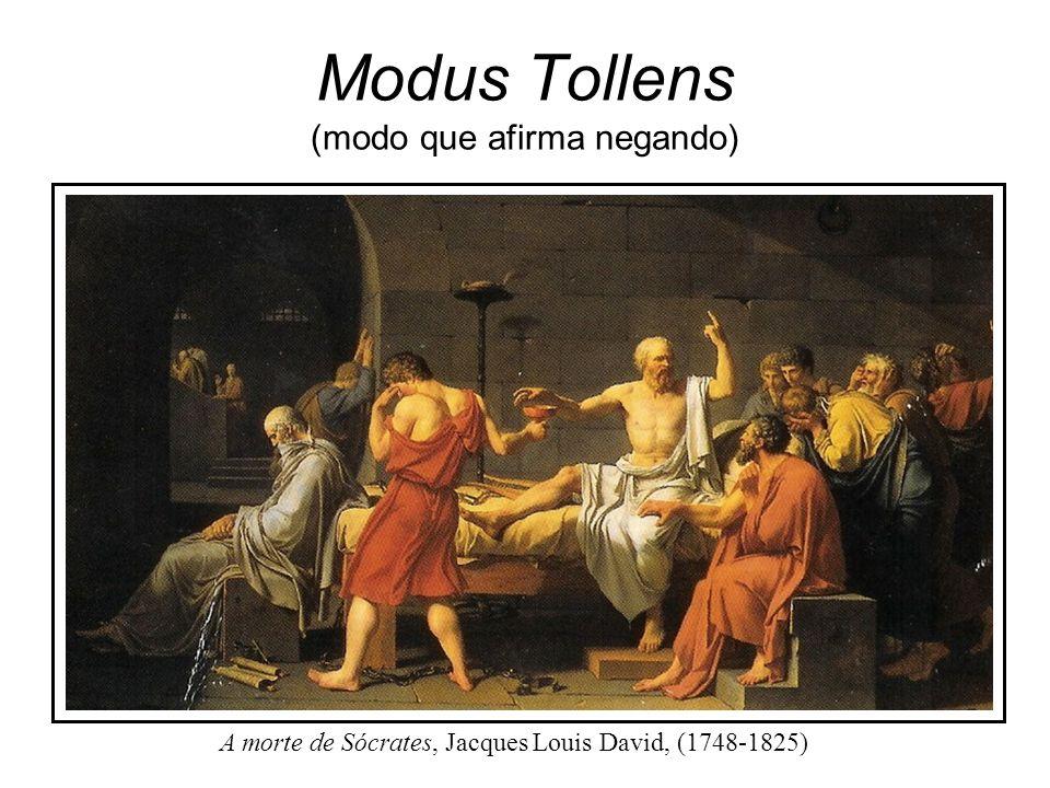 Modus Tollens (modo que afirma negando) Nome formal para a prova indireta. É um argumento comum, simples: Se P, então Q. Q é falso (negação do consequ