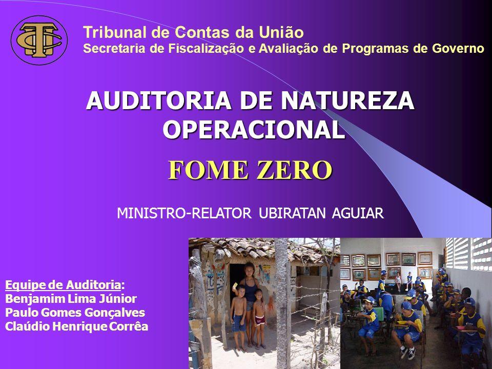 AUDITORIA DE NATUREZA OPERACIONAL OPERACIONAL FOME ZERO MINISTRO-RELATOR UBIRATAN AGUIAR Tribunal de Contas da União Secretaria de Fiscalização e Aval