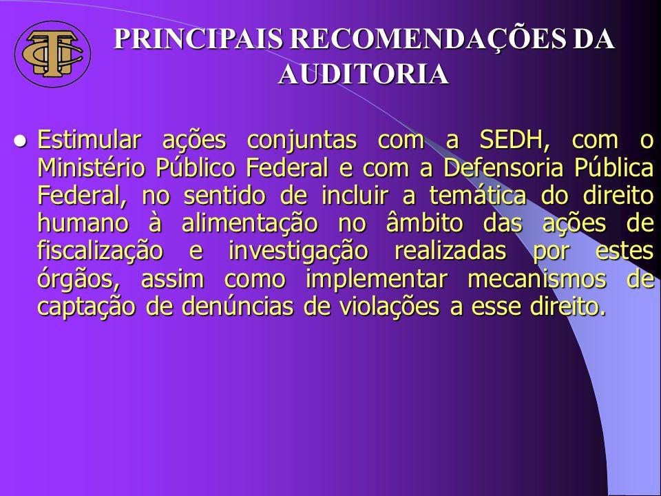 PRINCIPAIS RECOMENDAÇÕES DA AUDITORIA Estimular ações conjuntas com a SEDH, com o Ministério Público Federal e com a Defensoria Pública Federal, no se