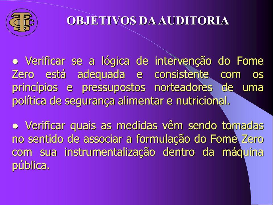 OBJETIVOS DA AUDITORIA Verificar se a lógica de intervenção do Fome Zero está adequada e consistente com os princípios e pressupostos norteadores de u
