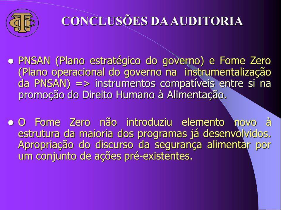PNSAN (Plano estratégico do governo) e Fome Zero (Plano operacional do governo na instrumentalização da PNSAN) => instrumentos compatíveis entre si na