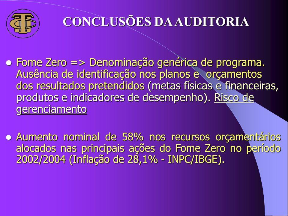 Fome Zero => Denominação genérica de programa. Ausência de identificação nos planos e orçamentos dos resultados pretendidos (metas físicas e financeir