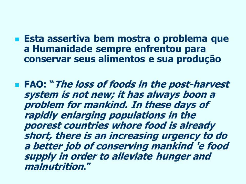 Esta assertiva bem mostra o problema que a Humanidade sempre enfrentou para conservar seus alimentos e sua produção FAO: The loss of foods in the post