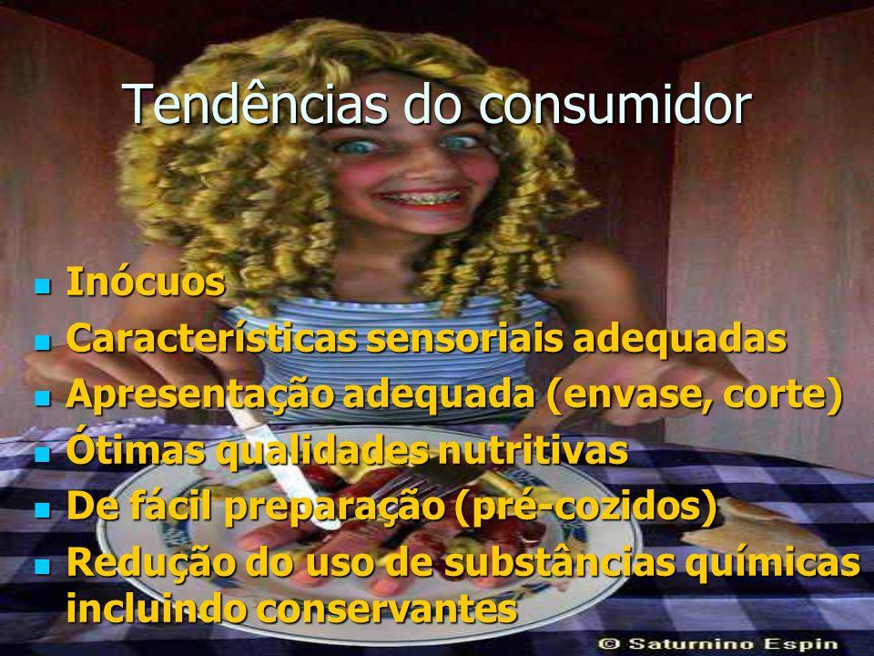 Tendências do consumidor Inócuos Inócuos Características sensoriais adequadas Características sensoriais adequadas Apresentação adequada (envase, cort
