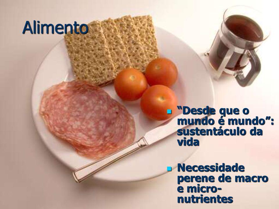 Alimento Desde que o mundo é mundo: sustentáculo da vida Desde que o mundo é mundo: sustentáculo da vida Necessidade perene de macro e micro- nutrient
