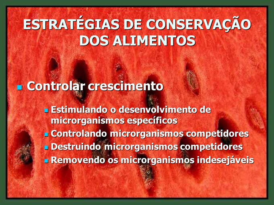 ESTRATÉGIAS DE CONSERVAÇÃO DOS ALIMENTOS Controlar crescimento Controlar crescimento Estimulando o desenvolvimento de microrganismos específicos Estim