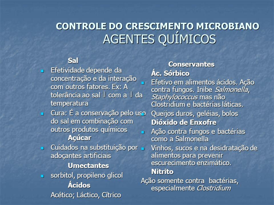 CONTROLE DO CRESCIMENTO MICROBIANO AGENTES QUÍMICOS Sal Efetividade depende da concentração e da interação com outros fatores. Ex: A tolerância ao sal