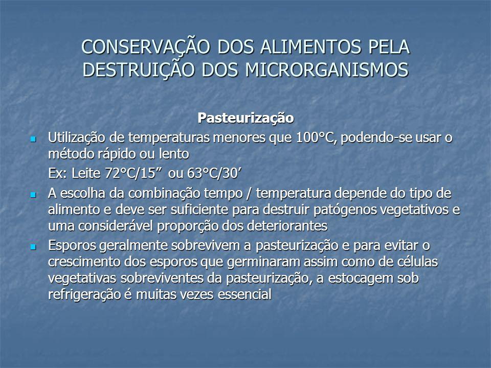 CONSERVAÇÃO DOS ALIMENTOS PELA DESTRUIÇÃO DOS MICRORGANISMOS Pasteurização Utilização de temperaturas menores que 100°C, podendo-se usar o método rápi