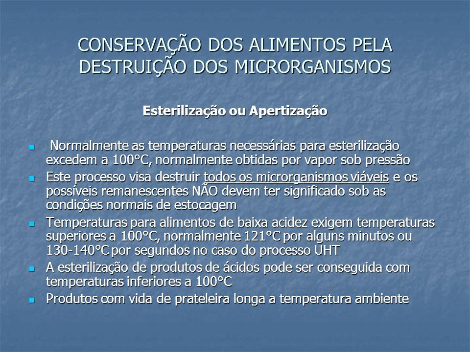 CONSERVAÇÃO DOS ALIMENTOS PELA DESTRUIÇÃO DOS MICRORGANISMOS Esterilização ou Apertização Normalmente as temperaturas necessárias para esterilização e
