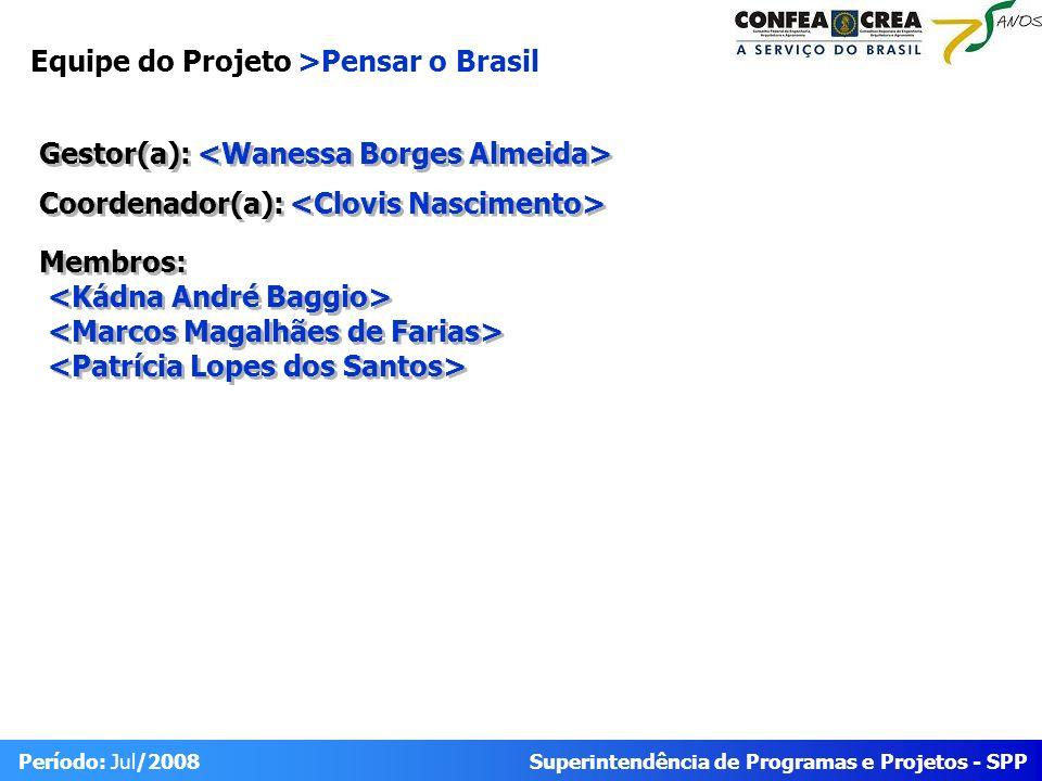 Superintendência de Programas e Projetos - SPP Período: Jul/2008 Equipe do Projeto >Pensar o Brasil Gestor(a): Coordenador(a): Membros: