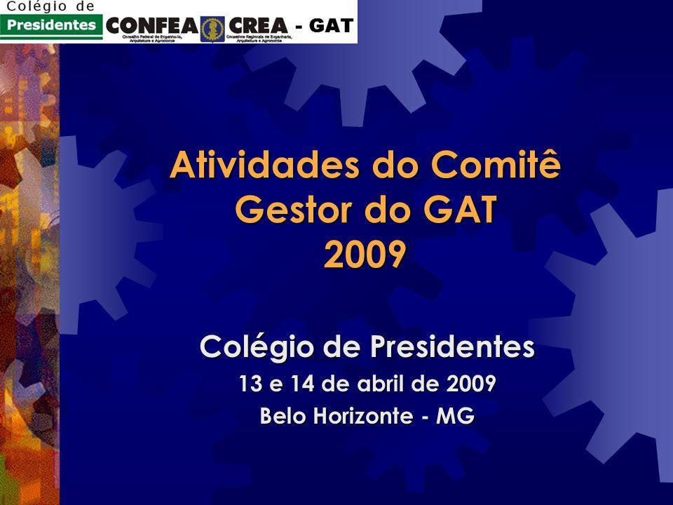 Atividades do Comitê Gestor do GAT 2009 Colégio de Presidentes 13 e 14 de abril de 2009 Belo Horizonte - MG