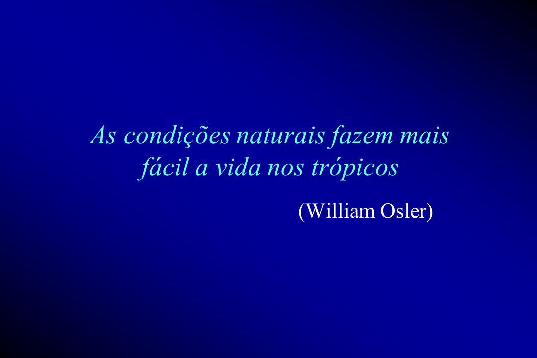 As condições naturais fazem mais fácil a vida nos trópicos (William Osler)