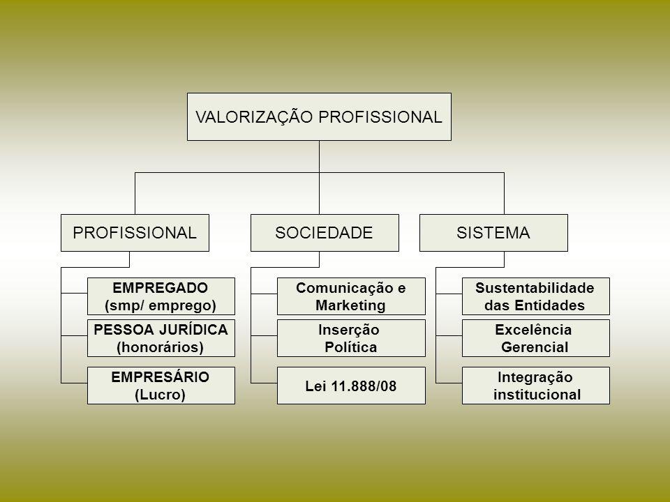 PROFISSIONAL SOCIEDADESISTEMA EMPREGADO (smp/ emprego) PESSOA JURÍDICA (honorários) EMPRESÁRIO (Lucro) Sustentabilidade das Entidades Excelência Gerencial Integração institucional Comunicação e Marketing Inserção Política Lei 11.888/08