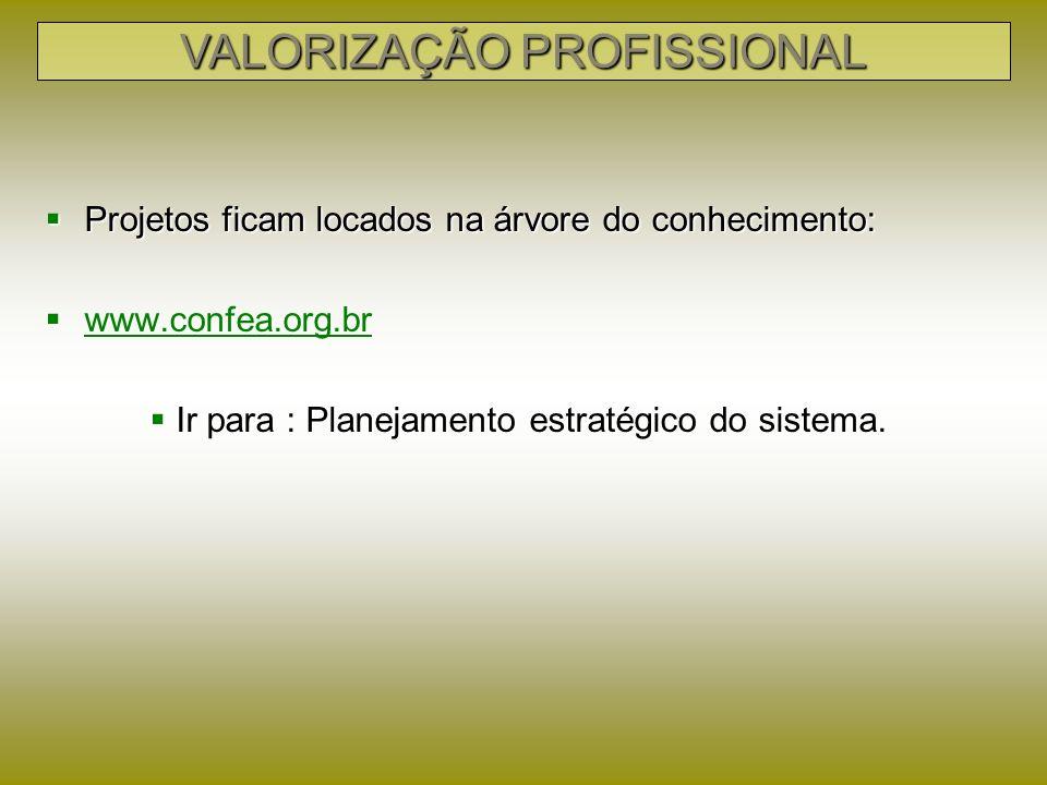 Projetos ficam locados na árvore do conhecimento: Projetos ficam locados na árvore do conhecimento: www.confea.org.br www.confea.org.br www.confea.org.br Ir para : Planejamento estratégico do sistema.