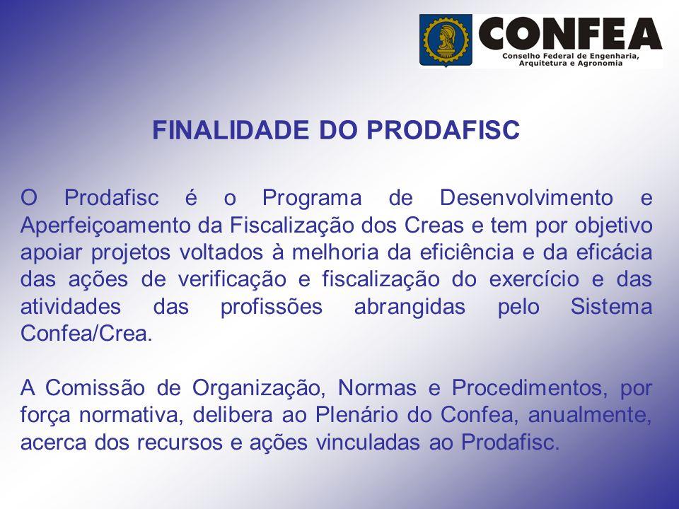 FINALIDADE DO PRODAFISC O Prodafisc é o Programa de Desenvolvimento e Aperfeiçoamento da Fiscalização dos Creas e tem por objetivo apoiar projetos vol