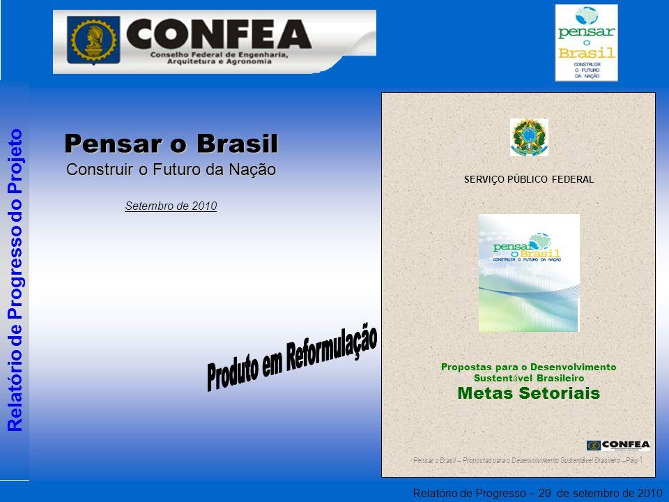 Relatório de Progresso – 29 de setembro de 2010 Relatório de Progresso do Projeto Propostas para o Desenvolvimento Sustent á vel Brasileiro Metas Setoriais SERVIÇO PÚBLICO FEDERAL Pensar o Brasil – Propostas para o Desenvolvimento Sustent á vel Brasileiro – P á g 1 Pensar o Brasil Construir o Futuro da Nação Setembro de 2010