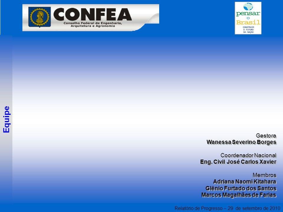 Relatório de Progresso – 29 de setembro de 2010 Gestora Wanessa Severino Borges Coordenador Nacional Eng.