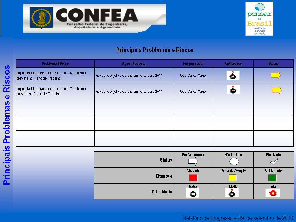 Relatório de Progresso – 29 de setembro de 2010 Principais Problemas e Riscos