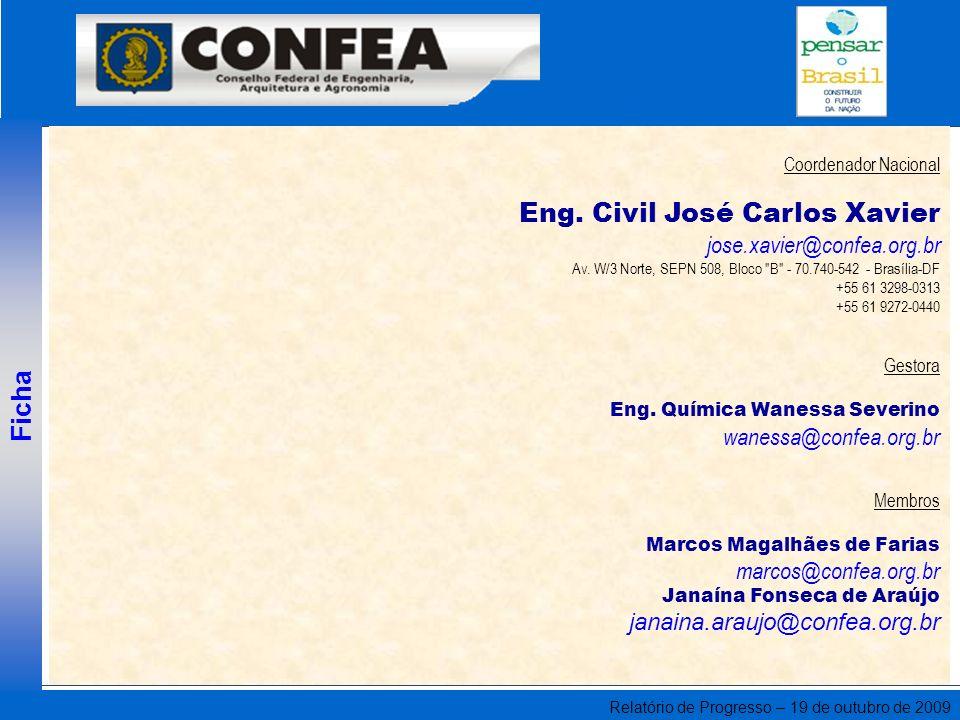 Relatório de Progresso – 19 de outubro de 2009 Coordenador Nacional Eng. Civil José Carlos Xavier jose.xavier@confea.org.br Av. W/3 Norte, SEPN 508, B