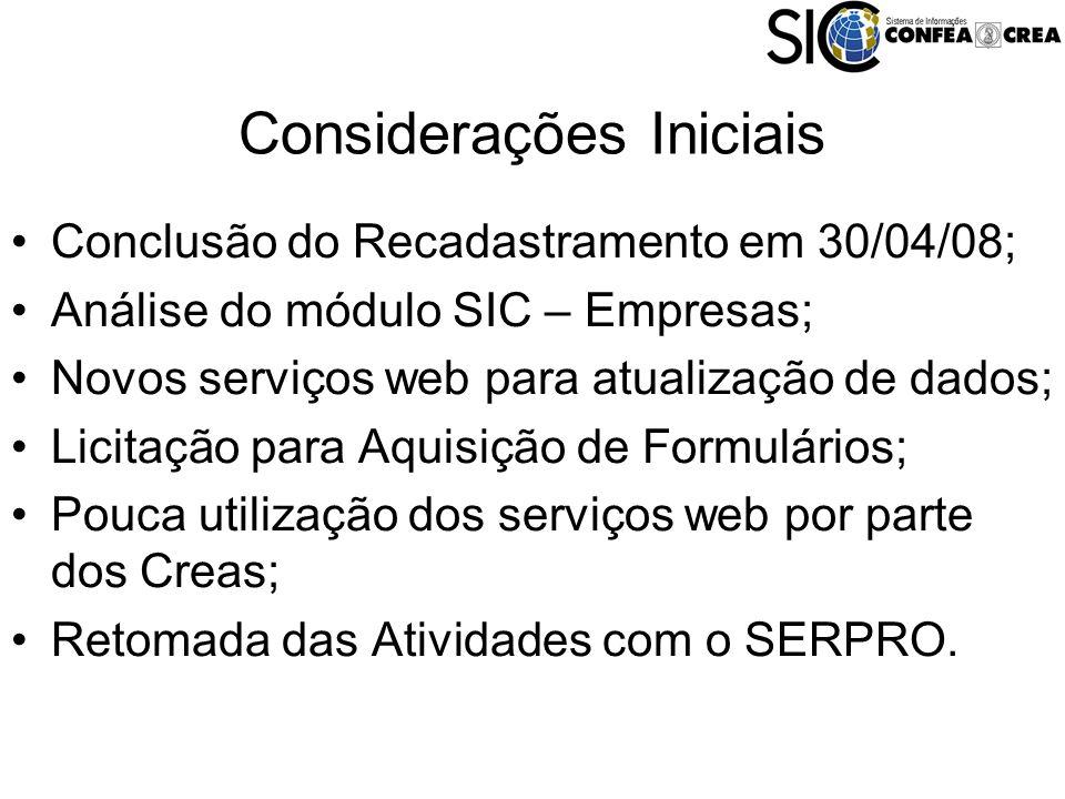 Considerações Iniciais Conclusão do Recadastramento em 30/04/08; Análise do módulo SIC – Empresas; Novos serviços web para atualização de dados; Licitação para Aquisição de Formulários; Pouca utilização dos serviços web por parte dos Creas; Retomada das Atividades com o SERPRO.