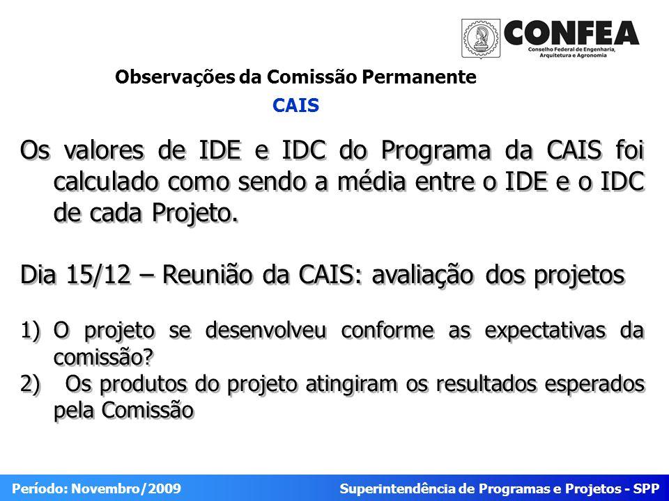 Superintendência de Programas e Projetos - SPP Período: Novembro/2009 Observações da Comissão Permanente CAIS Os valores de IDE e IDC do Programa da C