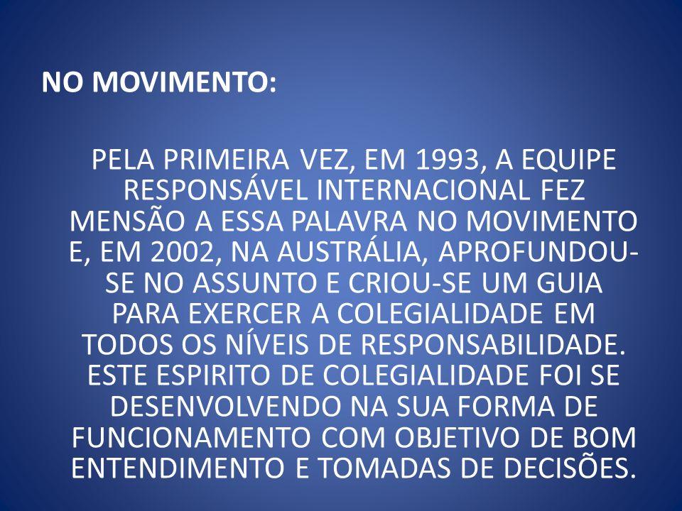 NO MOVIMENTO: PELA PRIMEIRA VEZ, EM 1993, A EQUIPE RESPONSÁVEL INTERNACIONAL FEZ MENSÃO A ESSA PALAVRA NO MOVIMENTO E, EM 2002, NA AUSTRÁLIA, APROFUND