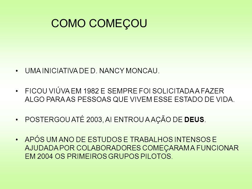 COMO COMEÇOU UMA INICIATIVA DE D. NANCY MONCAU. FICOU VIÚVA EM 1982 E SEMPRE FOI SOLICITADA A FAZER ALGO PARA AS PESSOAS QUE VIVEM ESSE ESTADO DE VIDA