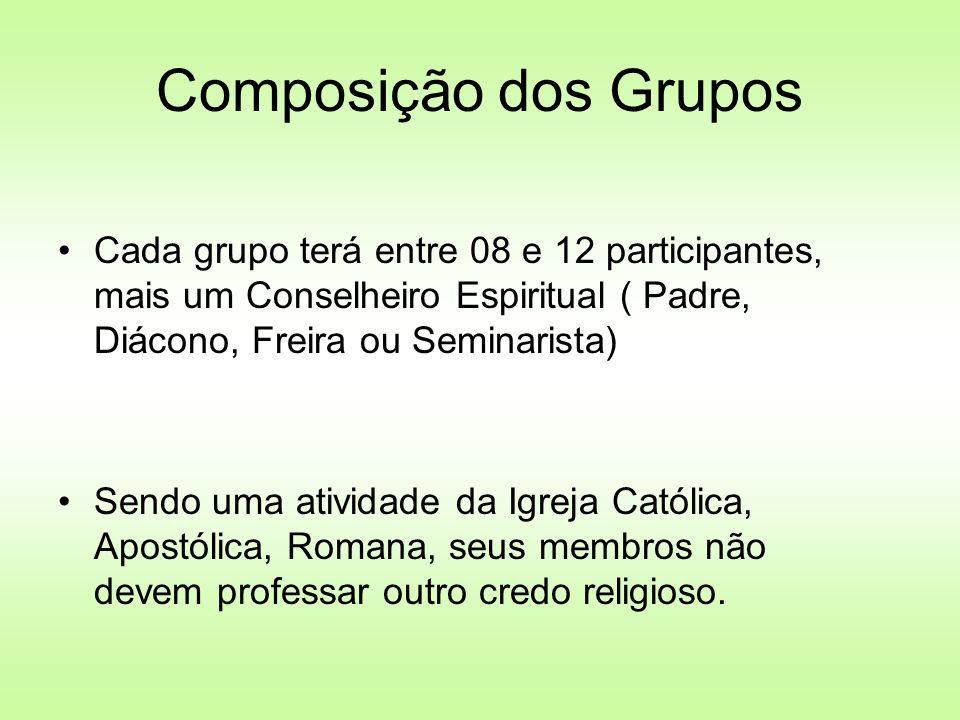 Composição dos Grupos Cada grupo terá entre 08 e 12 participantes, mais um Conselheiro Espiritual ( Padre, Diácono, Freira ou Seminarista) Sendo uma a