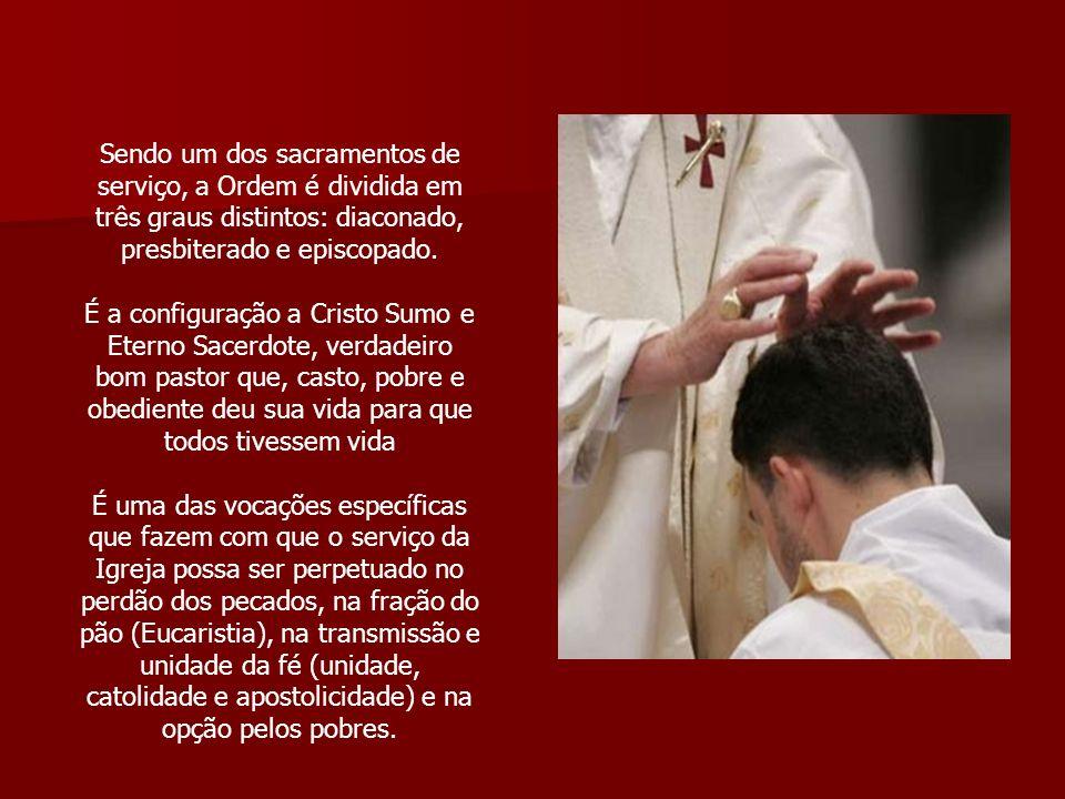 Sendo um dos sacramentos de serviço, a Ordem é dividida em três graus distintos: diaconado, presbiterado e episcopado. É a configuração a Cristo Sumo