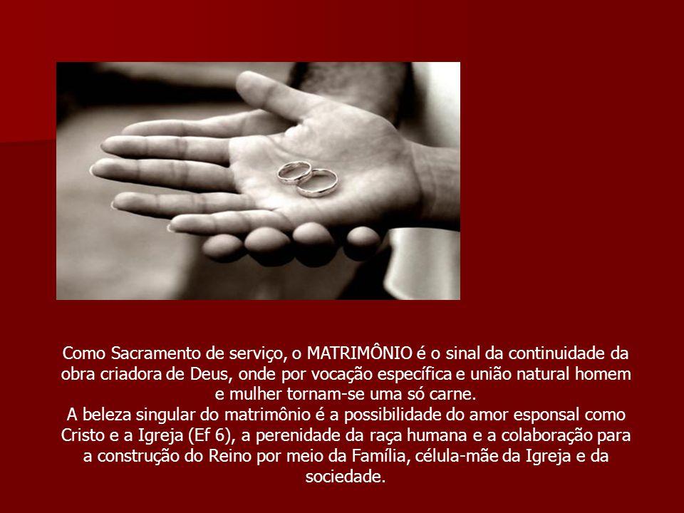 Como Sacramento de serviço, o MATRIMÔNIO é o sinal da continuidade da obra criadora de Deus, onde por vocação específica e união natural homem e mulhe