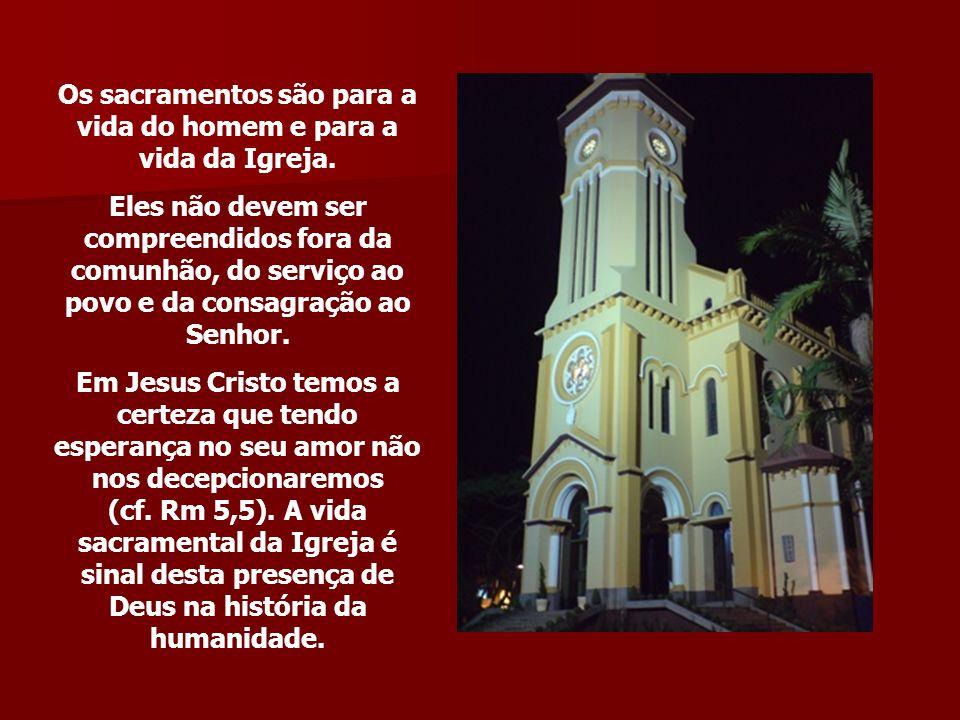 Os sacramentos são para a vida do homem e para a vida da Igreja. Eles não devem ser compreendidos fora da comunhão, do serviço ao povo e da consagraçã