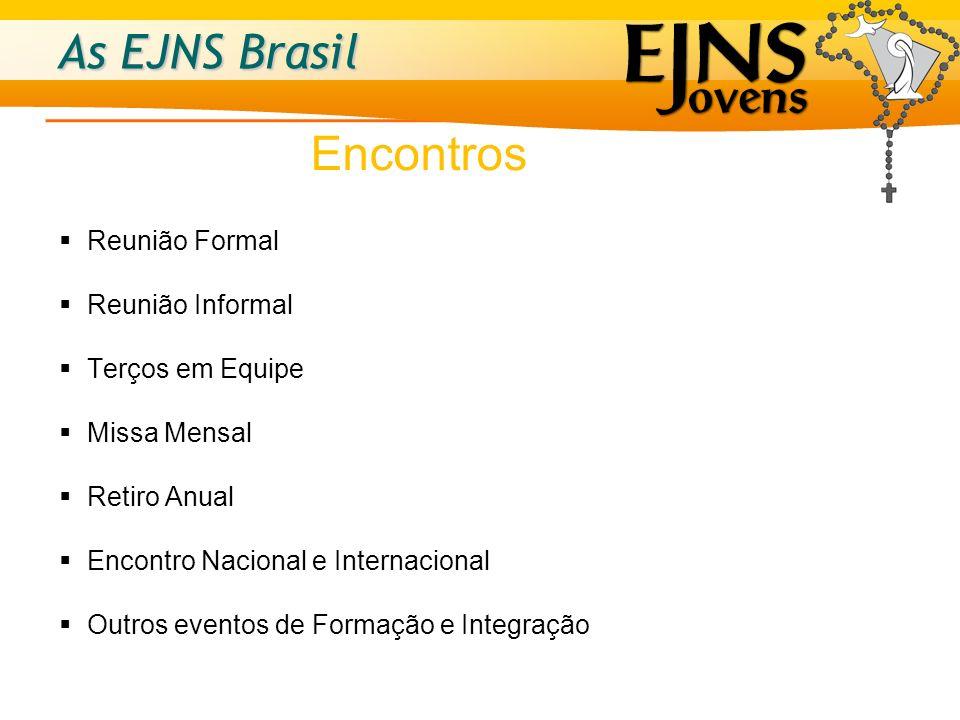 As EJNS Brasil Reunião Formal Reunião Informal Terços em Equipe Missa Mensal Retiro Anual Encontro Nacional e Internacional Outros eventos de Formação