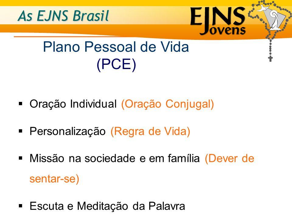 As EJNS Brasil Oração Individual (Oração Conjugal) Personalização (Regra de Vida) Missão na sociedade e em família (Dever de sentar-se) Escuta e Medit
