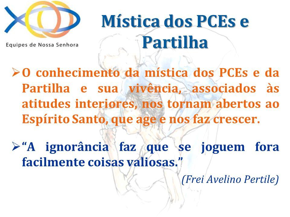O conhecimento da mística dos PCEs e da Partilha e sua vivência, associados às atitudes interiores, nos tornam abertos ao Espírito Santo, que age e no