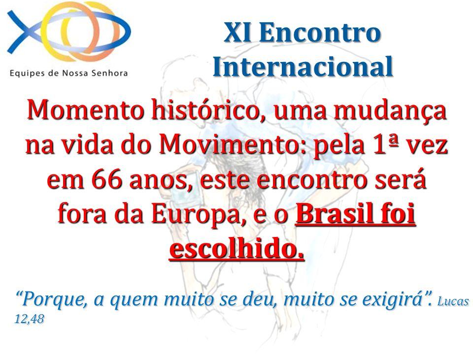 Momento histórico, uma mudança na vida do Movimento: pela 1ª vez em 66 anos, este encontro será fora da Europa, e o Brasil foi escolhido. Porque, a qu
