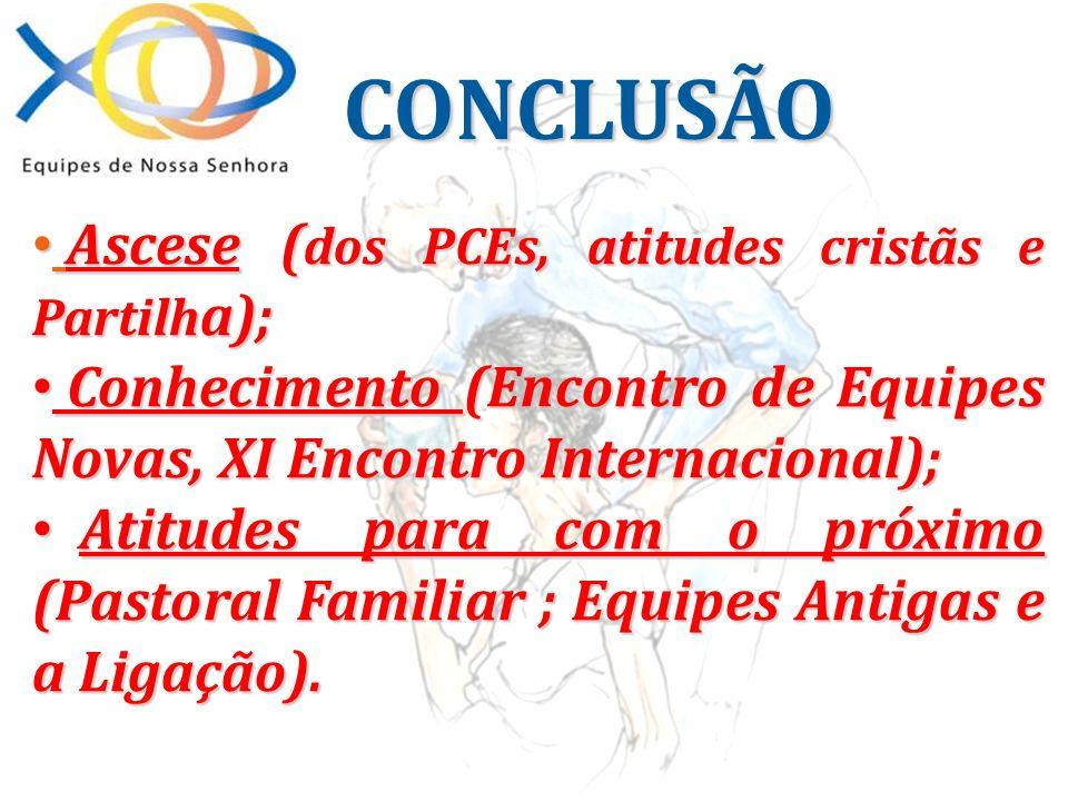 Ascese ( dos PCEs, atitudes cristãs e Partilh a); Ascese ( dos PCEs, atitudes cristãs e Partilh a); Conhecimento (Encontro de Equipes Novas, XI Encont