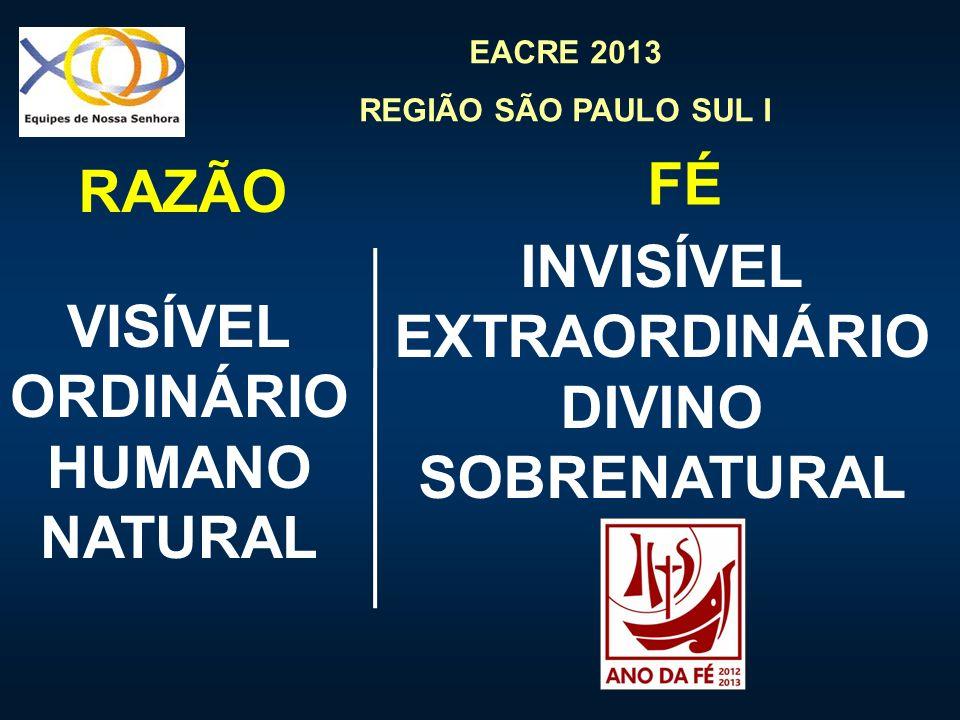EACRE 2013 REGIÃO SÃO PAULO SUL I VISÍVEL ORDINÁRIO HUMANO NATURAL INVISÍVEL EXTRAORDINÁRIO DIVINO SOBRENATURAL RAZÃO FÉ