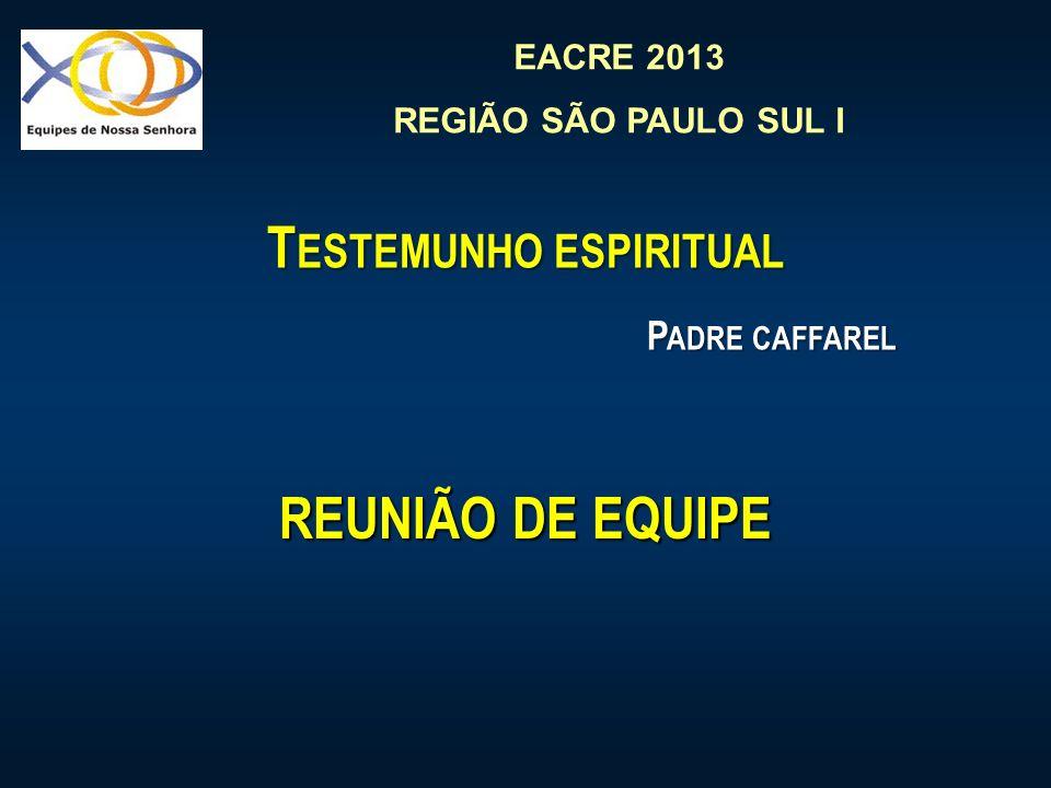 EACRE 2013 REGIÃO SÃO PAULO SUL I T ESTEMUNHO ESPIRITUAL P ADRE CAFFAREL REUNIÃO DE EQUIPE