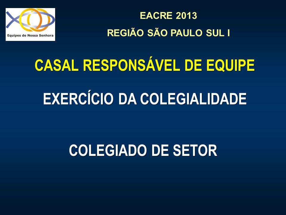 EACRE 2013 REGIÃO SÃO PAULO SUL I EXERCÍCIO DA COLEGIALIDADE EXERCÍCIO DA COLEGIALIDADE CASAL RESPONSÁVEL DE EQUIPE CASAL RESPONSÁVEL DE EQUIPE COLEGI