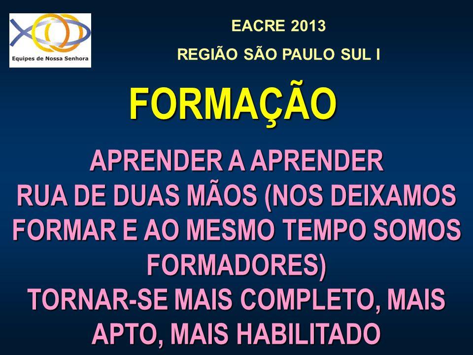 EACRE 2013 REGIÃO SÃO PAULO SUL I APRENDER A APRENDER RUA DE DUAS MÃOS (NOS DEIXAMOS FORMAR E AO MESMO TEMPO SOMOS FORMADORES) TORNAR-SE MAIS COMPLETO, MAIS APTO, MAIS HABILITADO FORMAÇÃO