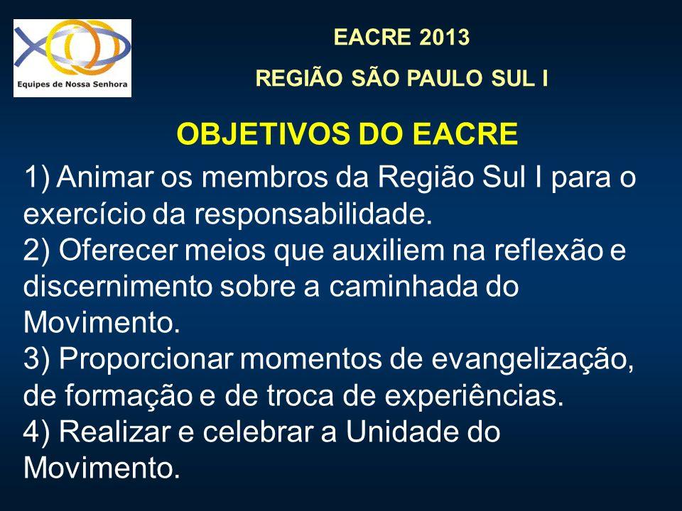 EACRE 2013 REGIÃO SÃO PAULO SUL I 1) Animar os membros da Região Sul I para o exercício da responsabilidade. 2) Oferecer meios que auxiliem na reflexã