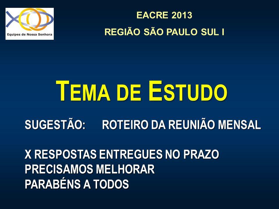 EACRE 2013 REGIÃO SÃO PAULO SUL I T EMA DE E STUDO SUGESTÃO: ROTEIRO DA REUNIÃO MENSAL X RESPOSTAS ENTREGUES NO PRAZO PRECISAMOS MELHORAR PARABÉNS A T