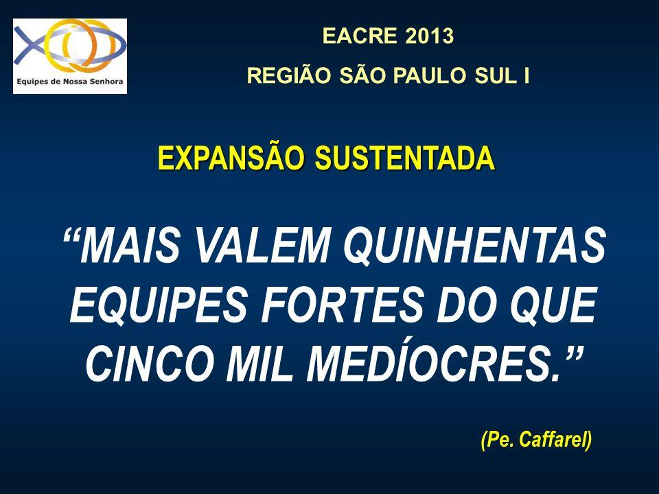 EACRE 2013 REGIÃO SÃO PAULO SUL I EXPANSÃO SUSTENTADA MAIS VALEM QUINHENTAS EQUIPES FORTES DO QUE CINCO MIL MEDÍOCRES. (Pe. Caffarel)