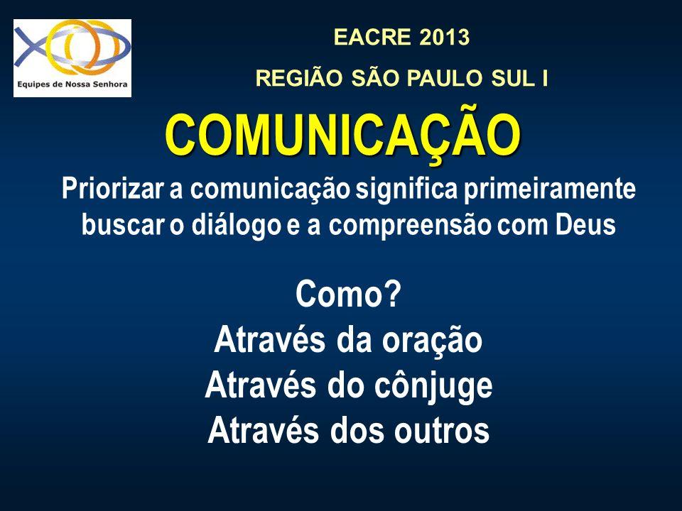 EACRE 2013 REGIÃO SÃO PAULO SUL I COMUNICAÇÃO Priorizar a comunicação significa primeiramente buscar o diálogo e a compreensão com Deus Como? Através