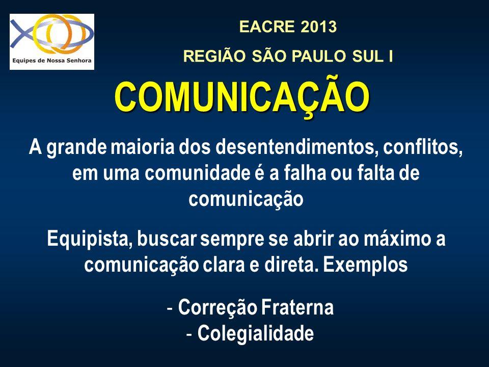EACRE 2013 REGIÃO SÃO PAULO SUL I COMUNICAÇÃO A grande maioria dos desentendimentos, conflitos, em uma comunidade é a falha ou falta de comunicação Eq